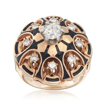 C. 1970 Vintage 1.15 ct. t.w. Diamond and Black Enamel Dome Ring in 14kt Yellow Gold. Size 6, , default
