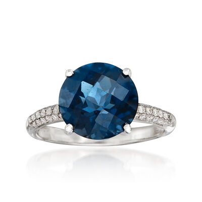 4.50 Carat Blue Topaz and .19 ct. t.w. Diamond Ring in 14kt White Gold, , default