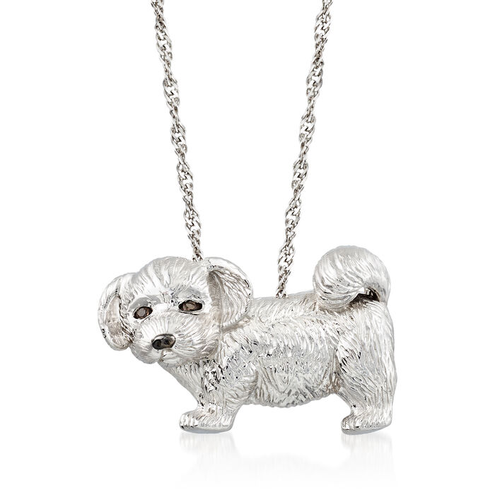 Sterling Silver Dog Pin Pendant with Smoky Quartz Accents, , default