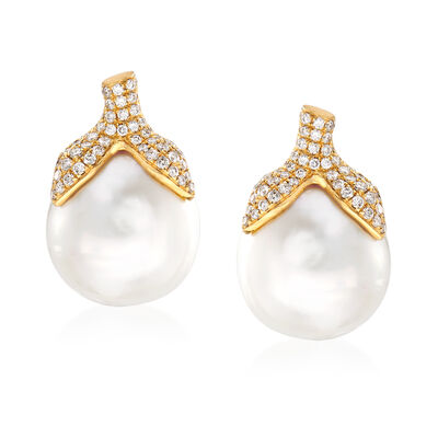 14-14.5mm Cultured South Sea Pearl and .60 ct. t.w. Diamond Earrings in 18kt Yellow Gold, , default
