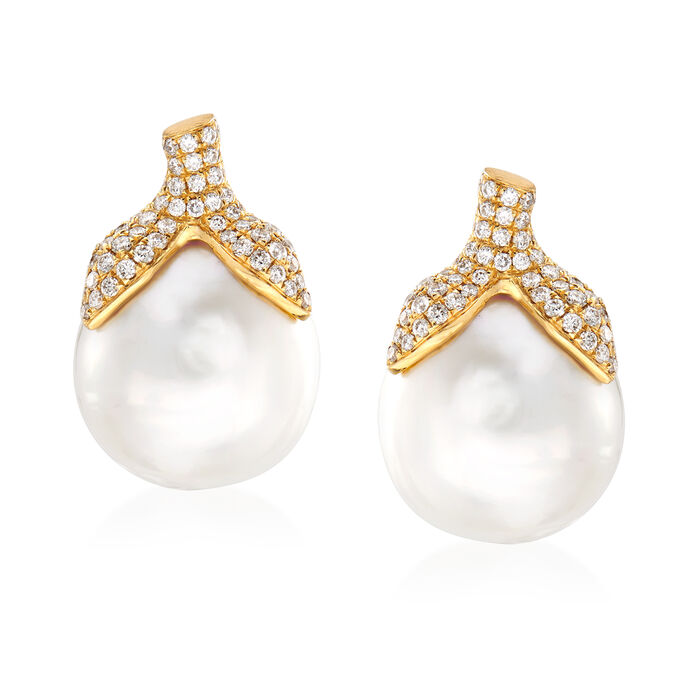 14-14.5mm Cultured South Sea Pearl and .60 ct. t.w. Diamond Earrings in 18kt Yellow Gold