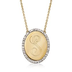 Italian .14 ct. t.w. Diamond Single Initial Oval Necklace in 14kt Yellow Gold, , default