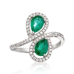 1.00 ct. t.w. Emerald and .50 ct. t.w. White Zircon Bypass Ring in Sterling Silver, , default