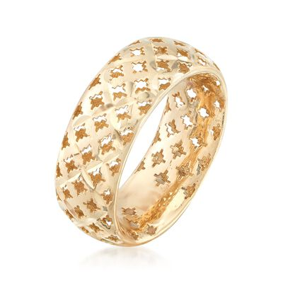 Italian 14kt Yellow Gold Diamond-Cut Ring, , default