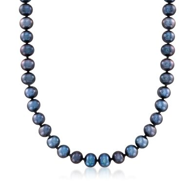 6-7mm Black Cultured Pearl Necklace with 14kt White Gold