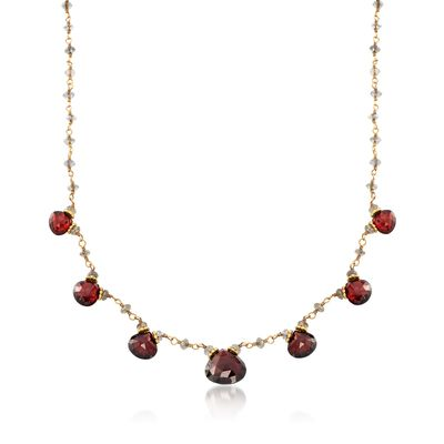 C. 1970 Vintage 23.80 ct. t.w. Garnet Necklace With Labradorite Beads in 18kt Yellow Gold, , default