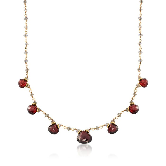 "C. 1970 Vintage 23.80 ct. t.w. Garnet Necklace with Labradorite Beads in 18kt Yellow Gold. 16"", , default"