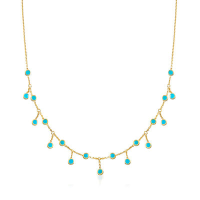Turquoise Enamel Drop Station Necklace in 14kt Yellow Gold