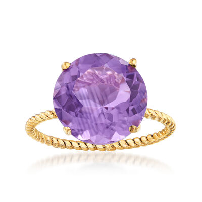 4.50 Carat Amethyst Rope Twist Ring in 14kt Yellow Gold
