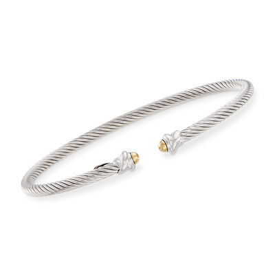 "Phillip Gavriel ""Italian Cable"" Sterling Silver Cuff Bracelet with 18kt Yellow Gold"