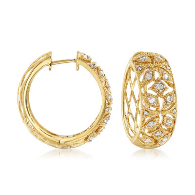 .50 ct. t.w. Diamond Floral Hoop Earrings in 18kt Gold Over Sterling