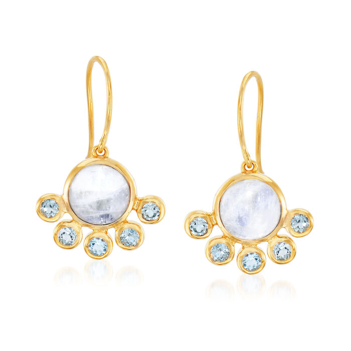 Moonstone and .80 ct. t.w. Sky Blue Topaz Drop Earrings in 18kt Gold Over Sterling