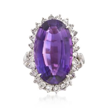 C. 1990 Vintage 12.50 ct. t.w. Amethyst and 1.30 ct. t.w. Diamond Ring in 14kt White Gold. Size 7.5, , default