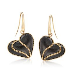 Italian Black Ruthenium-Plated 14kt Yellow Gold Heart Drop Earrings, , default