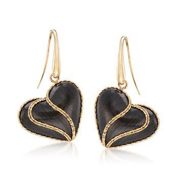 Italian Black Ruthenium-Plated 14kt Yellow Gold Heart Drop Earrings, , default