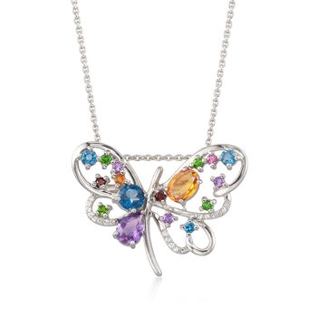 3.24 ct. t.w. Multi-Stone Butterfly Pin Pendant Necklace in Sterling Silver, , default