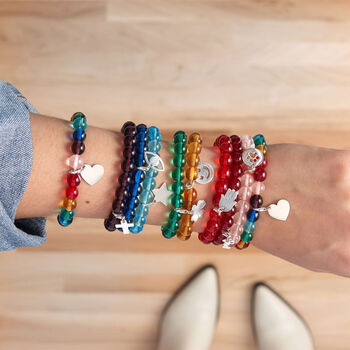 Your Choice: Italian Murano Glass Bead Stretch Bracelet with Sterling Silver Charm