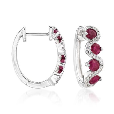 1.30 ct. t.w. Ruby and .15 ct. t.w. Diamond Hoop Earrings in 14kt White Gold, , default