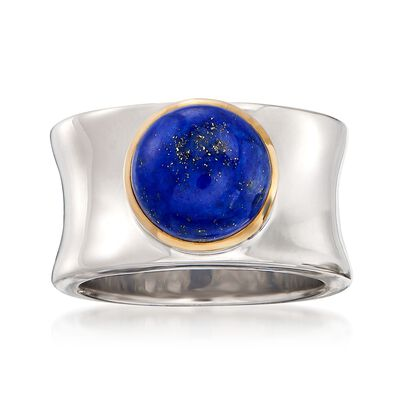 Lapis Cabochon Ring in 14kt Yellow Gold and Sterling Silver, , default