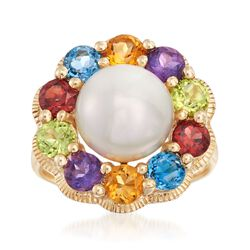 10-10.5mm Cultured Pearl and 2.60 ct. t.w. Multi-Stone Floral Ring in 14kt Yellow Gold, , default