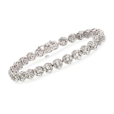 9.90 ct. t.w. Diamond Tennis Bracelet in 18kt White Gold, , default