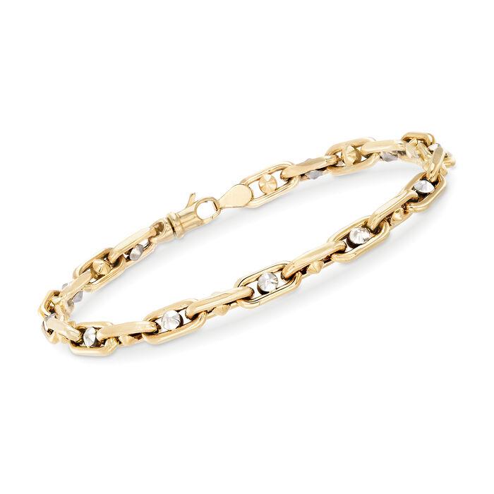 """Men's 14kt Two-Tone Gold Link Bracelet. 8.25"""""""