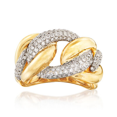 C. 1980 Vintage .50 ct. t.w. Diamond Link Ring in 14kt Two-Tone Gold, , default