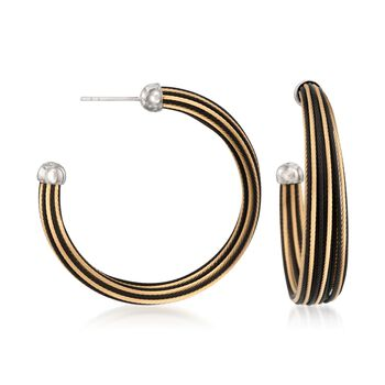 """ALOR """"Noir"""" Two-Tone Stainless Steel Cable Hoop Earrings With 18kt White Gold. 1 5/8"""", , default"""