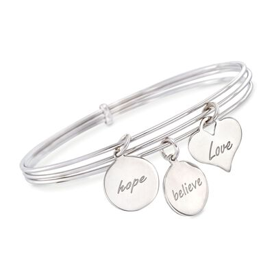 Italian Sterling Silver Connected Charm Bangles Bracelet, , default