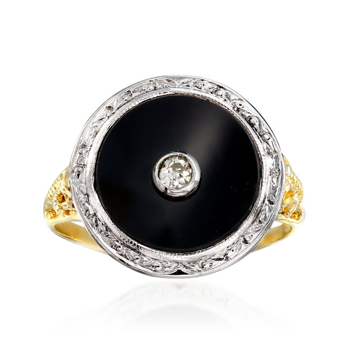 C. 1970 Vintage Black Onyx Ring in 14kt Two-Tone Gold. Size 7, , default