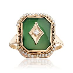 C. 1950 Vintage Green Chalcedony Ring With Seed Pearls and Diamond Accents in 14kt Yellow Gold. Size 7, , default