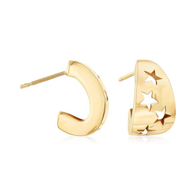 Italian 14kt Yellow Gold Cut-Out Star C-Hoop Earrings