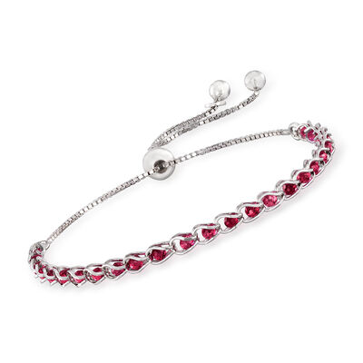 Italian Simulated Ruby Bead Bolo Bracelet in Sterling Silver, , default