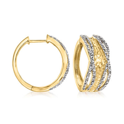 .25 ct. t.w. Diamond Hammered Hoop Earrings in 18kt Gold Over Sterling
