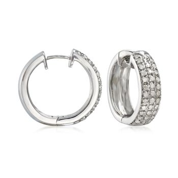 ".50 ct. t.w. Diamond Hoop Earrings in Sterling Silver. 5/8"", , default"