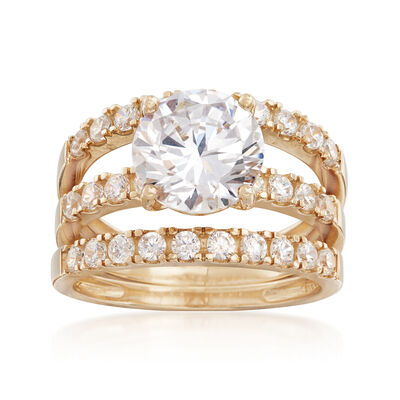 3.50 ct. t.w. CZ Bridal Set: Engagement and Wedding Rings in 14kt Yellow Gold, , default