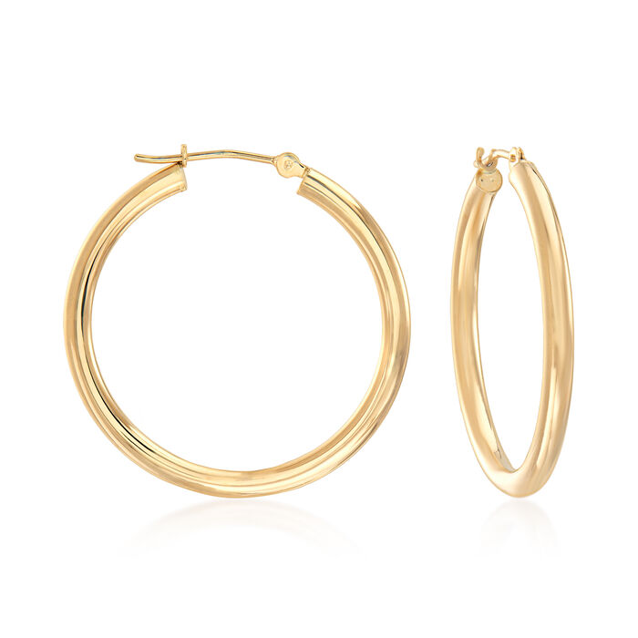 "2.5mm 14kt Yellow Gold Hoop Earrings. 1 1/8"", , default"