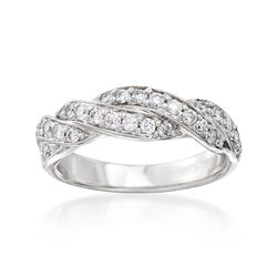 C. 1980 Vintage .65 ct. t.w. Diamond Braided Ring in 14kt White Gold. Size 5.5, , default