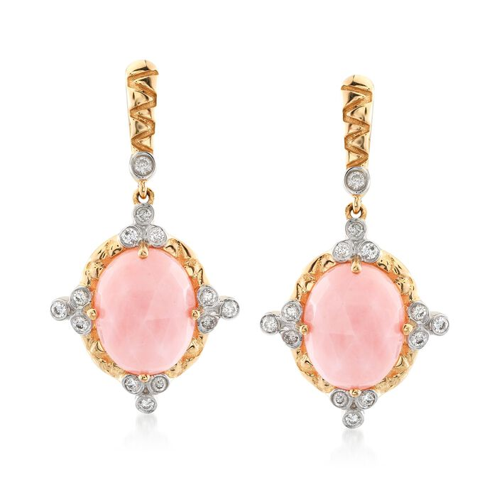 Pink Opal and .20 ct. t.w. Diamond Earrings in 14kt Yellow Gold, , default