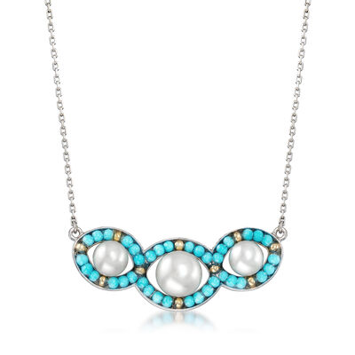 6-8.5mm Cultured Pearl and Turquoise Necklace in Sterling Silver, , default