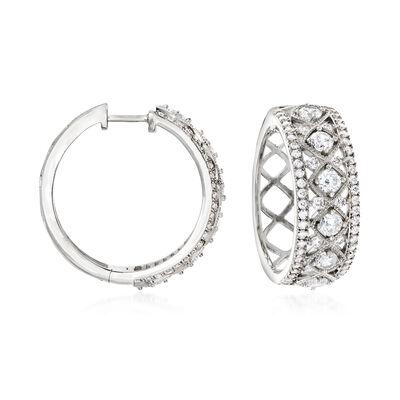 2.30 ct. t.w. CZ Hoop Earrings in Sterling Silver