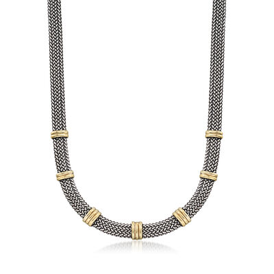 Italian 18kt Bonded Gold and Sterling Silver Woven Necklace, , default
