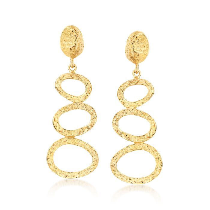 18kt Yellow Gold Over Sterling Free-Form Open Circle Drop Earrings, , default