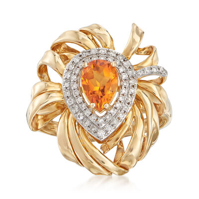 .70 Carat Citrine and .19 ct. t.w. Diamond Ring in 14kt Yellow Gold, , default