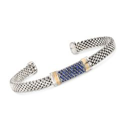 "Phillip Gavriel ""Popcorn"" .84 ct. t.w. Sapphire Cuff Bracelet in Sterling Silver and 18kt Gold, , default"