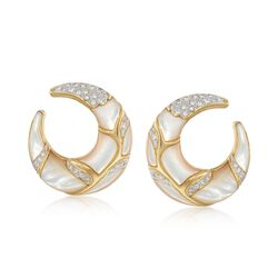 C. 1980 Vintage 1.20 ct. t.w. Diamond and Mother-Of-Pearl Half-Moon Hoop Earrings in 18kt Yellow Gold, , default
