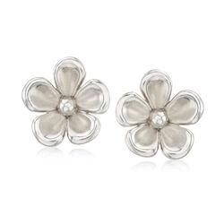Sterling Silver Flower Clip-On Earrings , , default