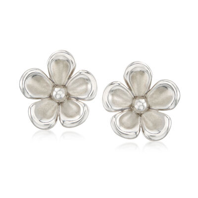 Sterling Silver Flower Clip-On Earrings , , default