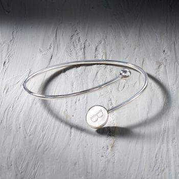 "Italian Sterling Silver Single Initial Disc Bypass Bangle Bracelet. 7"", , default"