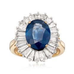 C. 1990 Vintage 4.66 Carat Ceylon Sapphire and 2.20 ct. t.w. Diamond Ring in Platinum and 18kt Yellow Gold. Size 7, , default